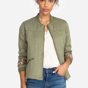 Johnny Was Leigh Quilted Seamed Bomber Jacket S